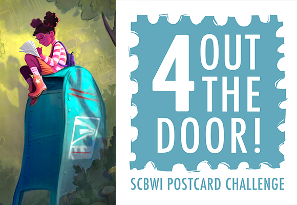 From our friends in Michigan: The 4 Out the Door Illustrator Challenge! Do you wonder how you can get on an art director's or editor's radar? Mailing a promotional postcard on a regular basis is the simplest self-promotion an illustrator can do! Maybe you have good intentions to send several postcards a year, but end up falling short. Wouldn't it be easier if you were pleasantly prodded and cheered on by your peers? Join SCBWI Michigan illustrators in sending quarterly mailings on Feb. 1st, April 1st, July 1st, and Nov. 1st.   NEXT STEPS To participate, e-mail us at fouroutthedoor@gmail.com saying you are up for the challenge. Once you sign up, you will receive a welcome e-packet about the basics of promotional mailings and next steps, along with a digital badge you can use to share the news of our challenge. Check the MichKids listserv, social media, and The Mitten blog because SCBWI-MI illustrators Kirbi Fagan, Kara Marsee and Deb Pilutti will share printing resources, production tips, encouragement and success stories over the coming weeks. (BE SURE TO CONNECT ON THESE PLATFORMS! For more information on how, click HERE.) You can share your postcards on Instagram and Twitter using the hashtag: #4outthedoor. We look forward to seeing what you create! Special shout-out to Kirbi Fagan for creating the 4 Out the Door logo and illustration.