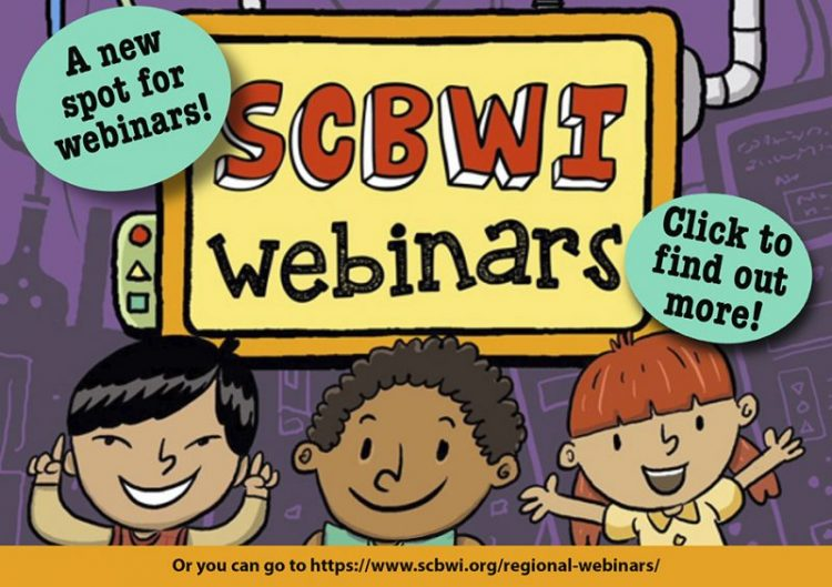 Image is a graphic of the new SCBWI webinars home